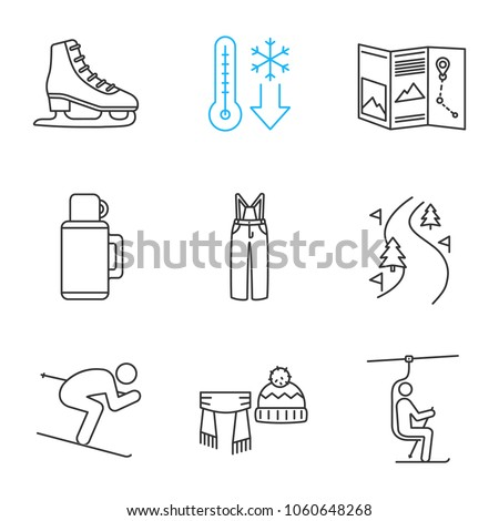 Winter activities linear icons set. Scarf, hat, cold weather, map, thermos, pants, skier, forest road, skate, chairlift. Thin line contour symbols. Isolated vector outline illustrations