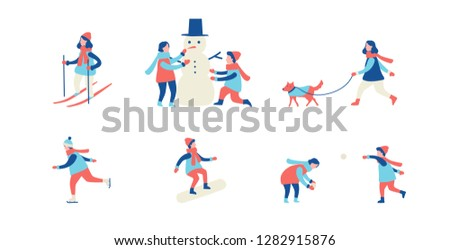 Winter activities. Men, women and children ski, ice-skate, make a snowman and play snowballs. Flat cartoon vector illustration
