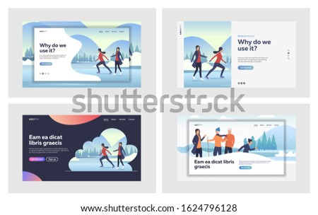 Winter activities set. Active people skating on ice, walking outdoors. Flat vector illustrations. Hobby, recreation, vacation concept for banner, website design or landing web page