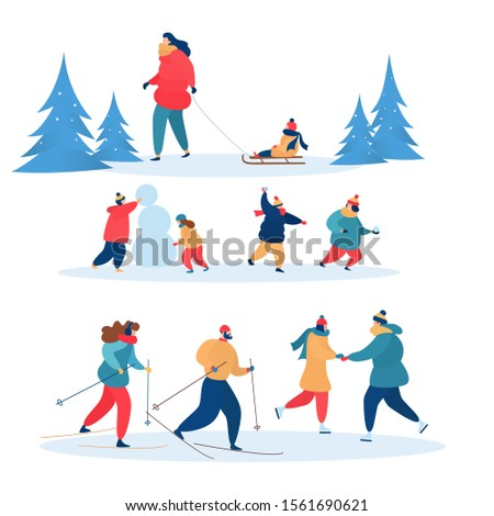 Winter activities vector active people skiing, skating and sledding together. Illustration set of family characters, children playing snowballs in wintertime isolated on white background