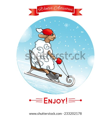 Winter activities. Winter sport. Lamb rolls sledding from a hill. Lamb in red hat and mittens.Winter poster. Poster, card with sheep on a snow winter background. Merry Christmas and Happy New Year.