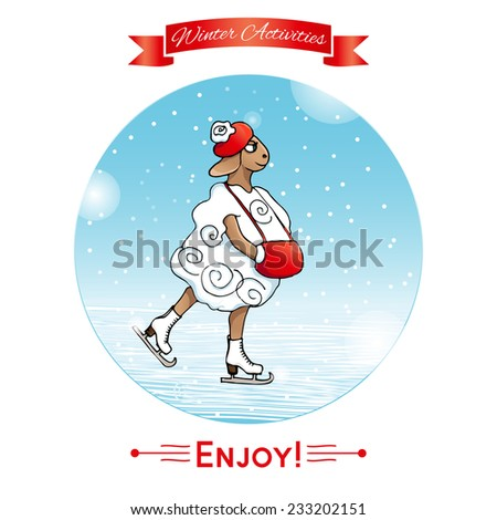 Winter activities, winter sport. Lamb skates, ice-skates. Winter poster. Poster, card with sheep on a winter snow background. Merry Christmas and Happy New Year.