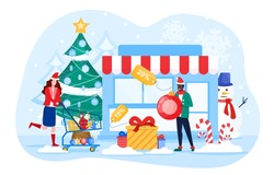 Winter and Christmas Sale concept with woman rushing with her trolley to the store to purchase the bargains in a cold city street with snowman, colored vector illustration