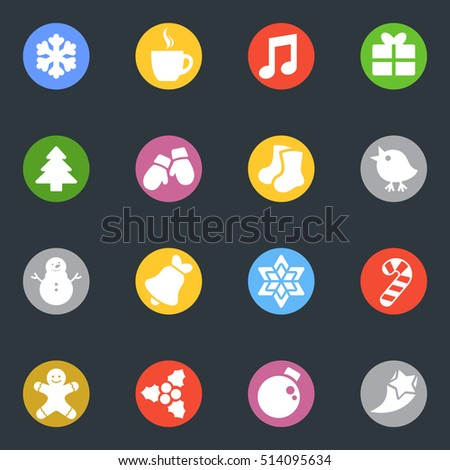 Winter and Christmas vector stickers icon in the circle set. Labels collection. Good for scrapbooking, diary, creativity use.