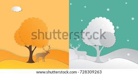 winter and spring landscape