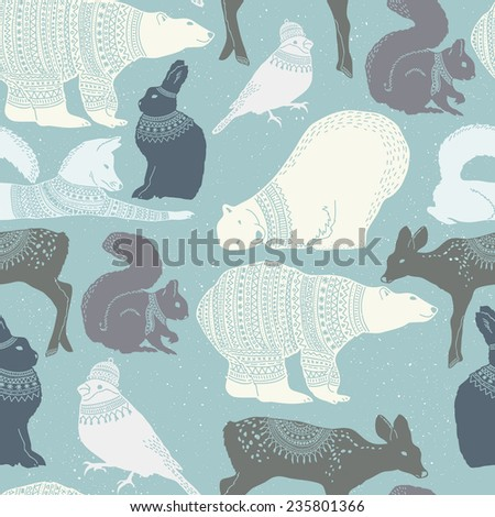 winter animals seamless pattern