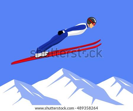 winter athletic sports ski