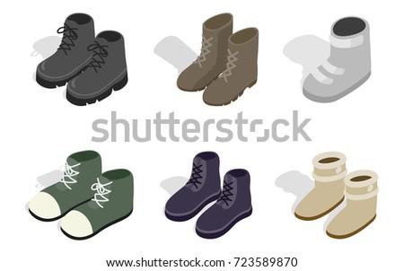 winter autumn boots icon set
