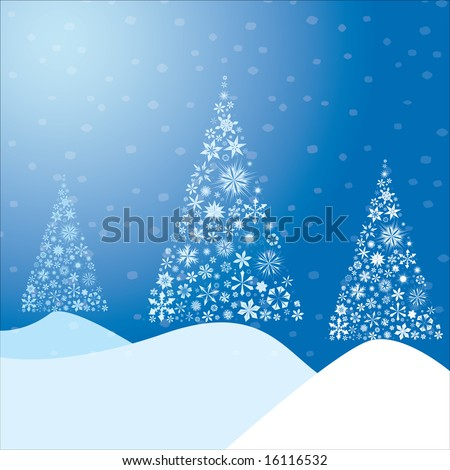 Winter background made from snow flakes arranged in the shape of a Christmas tree