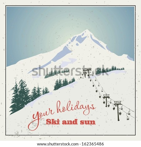 Winter background. Mountain landscape with ski lift
