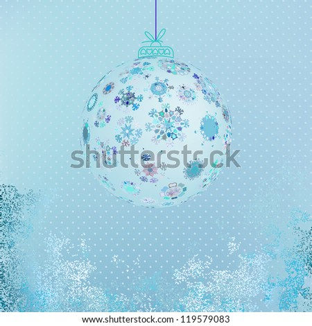 Winter background with beautiful various snowflakes.  + EPS8 vector file