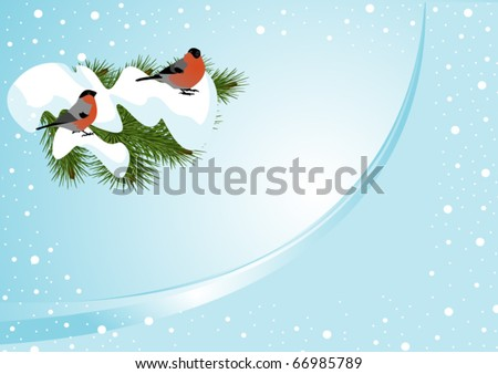 Winter background with bullfinch (horizontal)