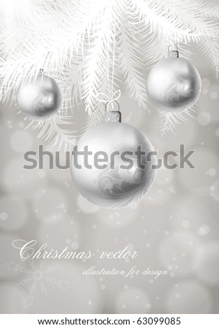 winter background with Christmas decoration, fur tree and silver balls for xmas design. eps 10