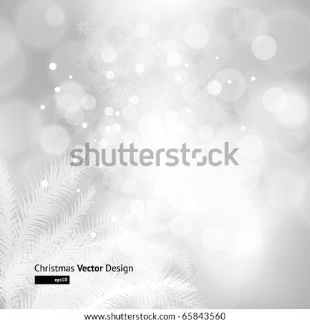 winter background with Christmas decoration, fur tree and silver for xmas design. eps 10
