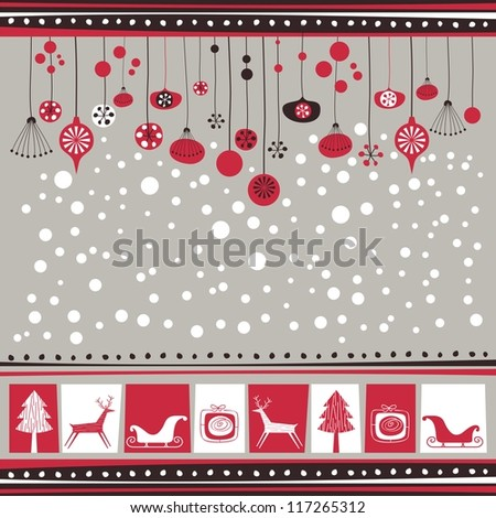 Winter background with decorative seasonal elements