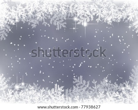 winter background with fir branches and snow