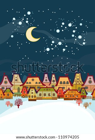 Winter background  with houses