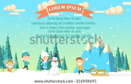 winter background with kids and