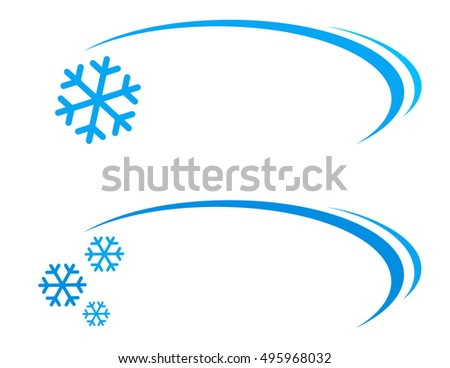 winter background with snowflake icon and decorative line