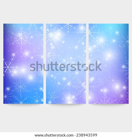 winter backgrounds set with
