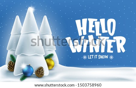 winter banner with hello winter