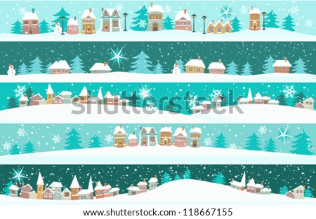 winter banners with cartoon
