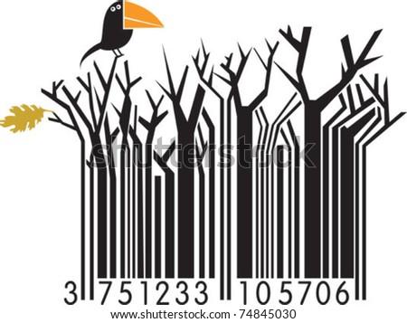 Winter barcode with bird