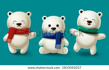 Winter bears character vector set. Teddy bear or polar bear 3d cartoon characters collection wearing scarf for winter season design in blue background. Vector illustration