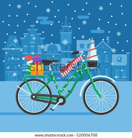 winter bike with new year tree