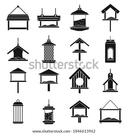 Winter bird feeders icons set. Simple set of winter bird feeders vector icons for web design on white background ストックフォト ©