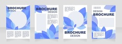 Winter blue blank brochure layout design. Leaves decor. Vertical poster template set with empty copy space for text. Premade corporate reports collection. Editable flyer paper pages