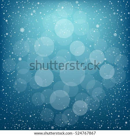 winter blue bokeh background