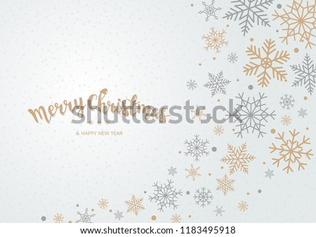 Winter blue sky with falling snow. Snowflake background for Merry Christmas and Happy New Year. Vector illustration