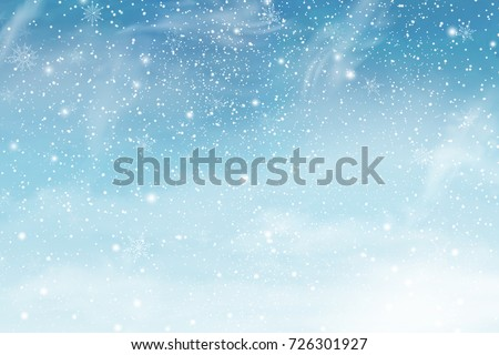 Winter blue sky with falling snow, snowflake. Holiday Winter background for Merry Christmas and Happy New Year. Vector illustration