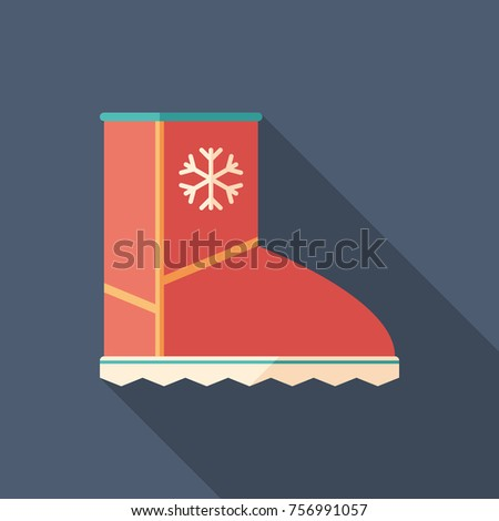 winter boots flat square icon