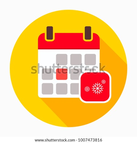 Winter calendar with snowflake icon vector, filled flat sign, solid pictogram isolated on white. Holiday schedule symbol, logo illustration