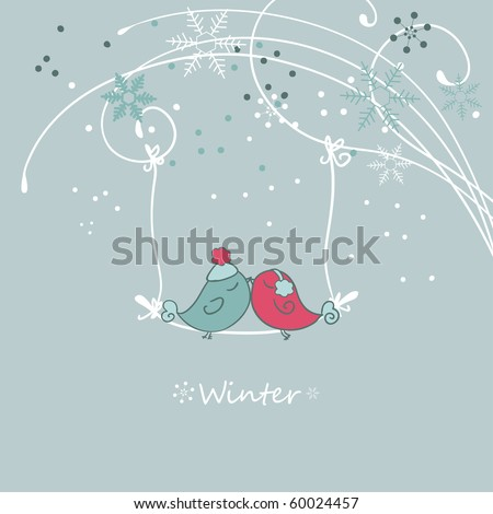 winter card with bird on a sviwng
