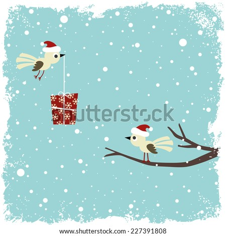 winter card with birds and gift