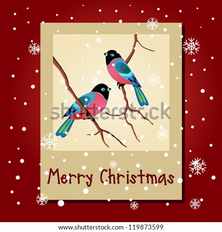 Winter card with birds Merry Christmas lettering, vector illustration