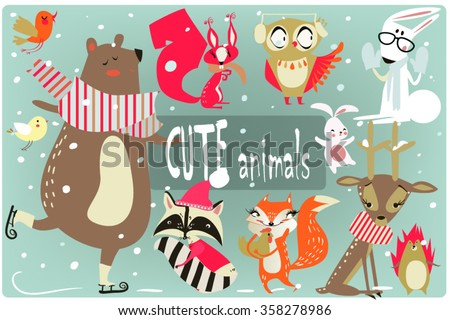winter cartoon animals