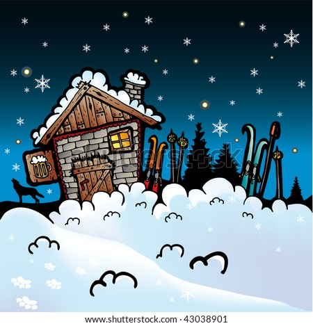 Credits & Thanks Stock-vector-winter-cartoon-vector-background-with-snow-and-cottage-43038901