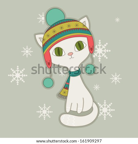 winter cat in a nordic hat
