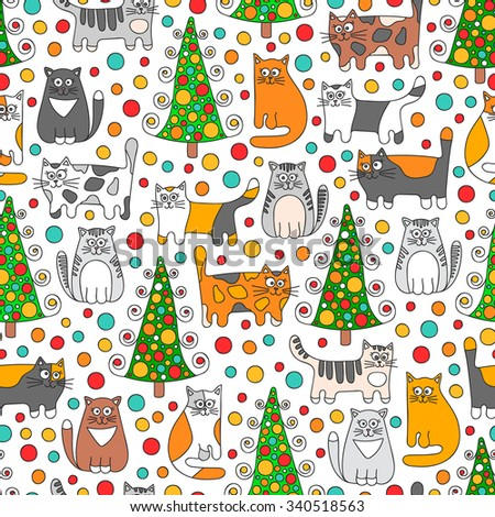 winter cats vector seamless