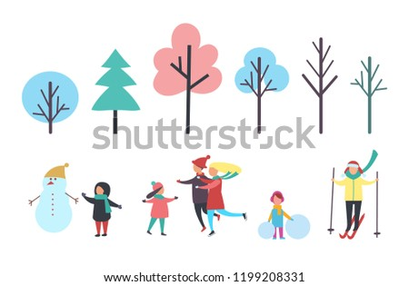 Stock Photo Winter child with snowman wearing hat, family skating with kid. Trees isolated icons, pine evergreen plant. Person skiing and girl with snow vector