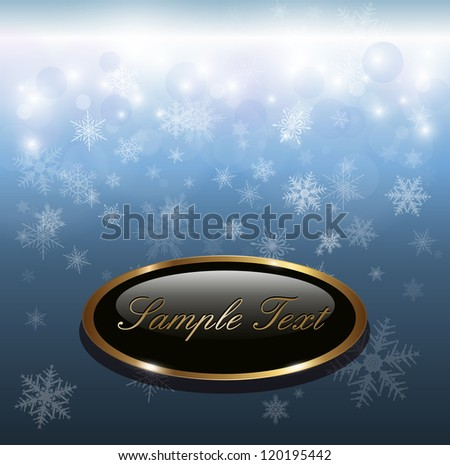 Winter christmas background blue with snowflakes, vector.