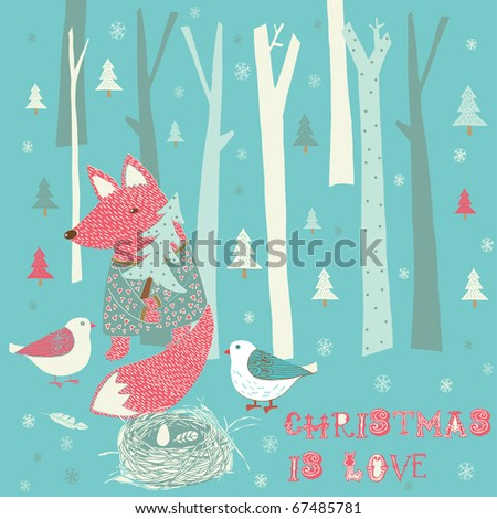 Winter Christmas card with fox and birds