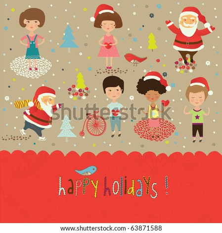 Winter Christmas card with happy kids and Santa