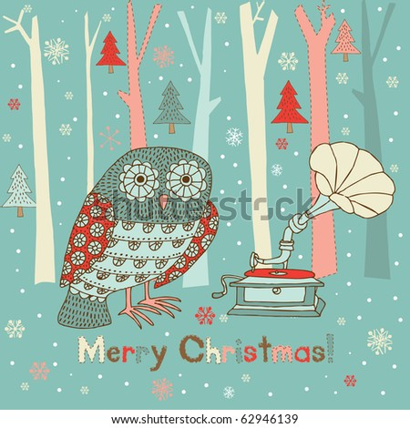 Winter Christmas card with owl and gramophone