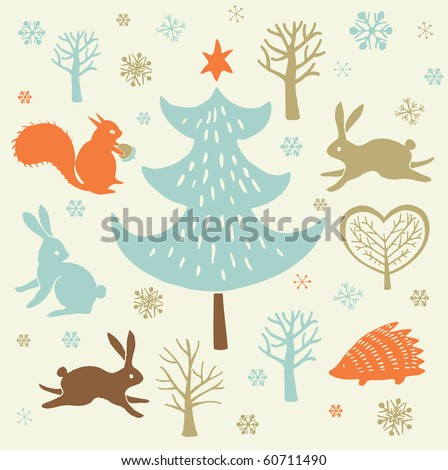 Winter Christmas forest background - stock vector