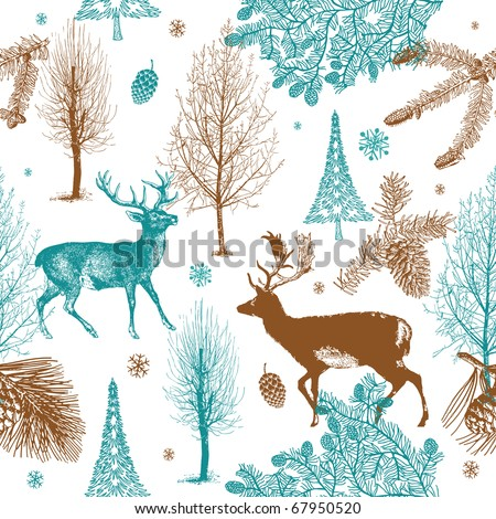 Winter Christmas forest with deers. seamless pattern